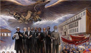 Mural de Héctor Cruz García: Nacimiento de una nación